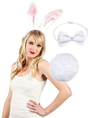 K30250029 weiß-rosa Damen Bunnyset Kaninchen Hasenkostüm