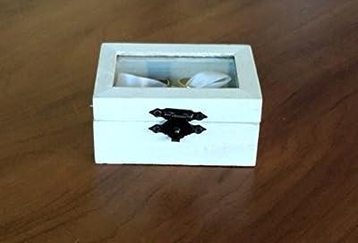 boîte de bague boîte porteur d anneau à bijoux alliances sur mesure Boîte anneaux de mariage blanc avec plateau en verre et la toile de jute ruban blanc pour tenir les anneaux idéal pour les mariages rustique