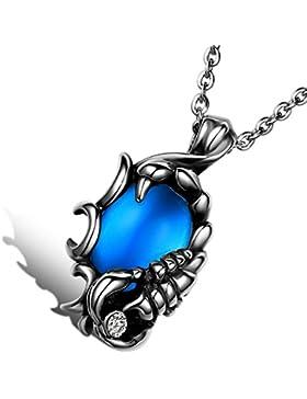 Cupimatch Herren Halskette, Gothic Biker Edelstahl Scorpions Anhänger mit Blau Stein, 55cm Kette, blau silber