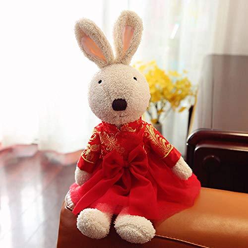 Paar Weiblich Kostüm - yfkgh Niedliche Neujahr Tang Anzug Kaninchen, Plüschtier, Kostüm Hochzeit Hase, Paar Puppe, Puppe Puppe@Tang Anzug weibliches Reisweißkaninchen_45 cm