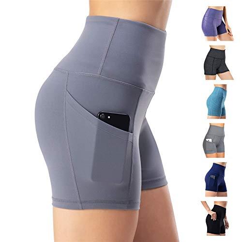 WateLves Damen Hohe Taille Yoga Sporthose Shorts Capri Fitness Dünne Hosen Schnell Trocknende Trainieren Mit Taschen Elastische Tanzen Workout Leggings(Grau, M)