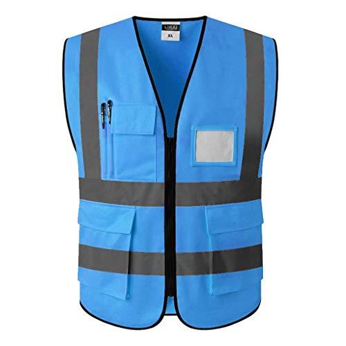 ZAIHW Konstruktionsweste Warnschutzweste mit reflektierenden Streifen und Reißverschluss (Color : Blue, Size : XL)