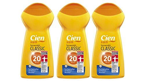 3x CIEN sun Sonnenmilch Classic LSF 20 Feuchtigkeitspflege mit Vitamin E, wasserfest* MHD 6/2018
