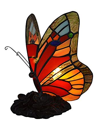 Tiffany Side Lamp Art Decorative Glass Colored Classic Bedroom Lamps, Butterfly Antiques Shades for Living Room Dining Room (9 inch, E14)