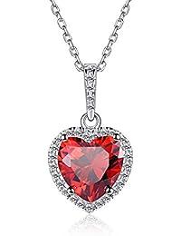 81a74730854a ChicSilver Corazón Plata de Ley 925 Chapado en Platino Colgante Collar con  Cadena Delgada 16 Pulgadas Joyería…