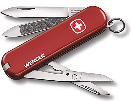 Victorinox Wenger Klein Taschenmesser, 7 Funktionen, Nagelfeile, Schere mit Mikro-Zahnung, rot