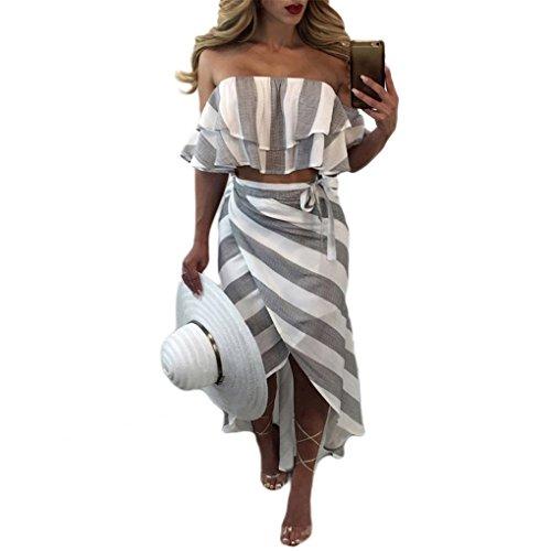 JYJMDamenmode Streifen Crop Tops + Rock Damen Sommer Strand Set Abendkleid Partykleid Vintage Langarm Rundhals Cocktailkleid Elegant Festlich Minikleid (XL, ()