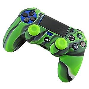 Pandaren® Silikon hülle skin Schutzhülle für PS4 controller (Tarnung grün) x 1 + thumb grip aufsätze x 2