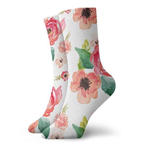 Floral Dreams White In Women Men Classics Socks Athletic Stockings 11.8 inch Long Sock (Zella-live In)