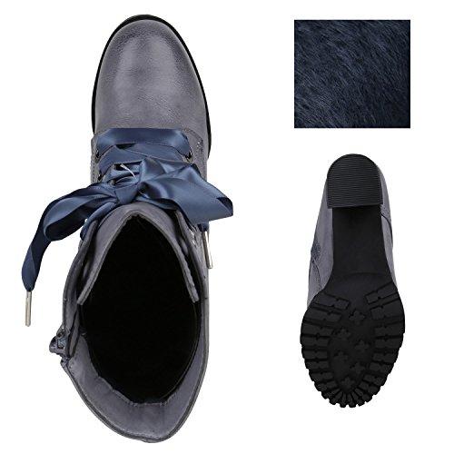 Damen Schnürstiefeletten Gefütterte Winterstiefel Worker Boots Profilsohle Schnürer Winterboots Blockabsatz Schuhe Stiefeletten High Heels Flandell Blau Grau
