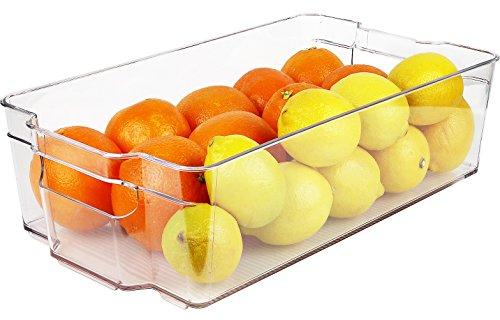 greenco Kühlschrank und Gefrierschrank breit Lagerplatz mit Griffen, 37,6x 21,1x 9,5cm klar - Kühlschrank Binz