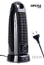 OPUS - Ventilatore a torre da tavolo, orientabile, 31,2 cm, 3 velocità, silenzioso, colore: Nero