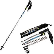 Bastón de alpinismo plegable, de fibra de carbono, goma y aluminio AGPtek - peso ligero, ajustable, para senderismo, Un-oa18