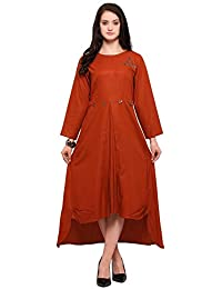 Inddus Orange Cotton Rayon Solid Asymmetric Flared Dress