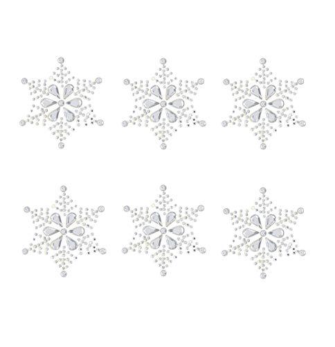 6 x große Schneeflocken-Aufkleber, glitzernd, Kunstharz, Strasssteine, selbstklebend