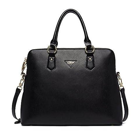 CLUCI Women Real Leather Handbag Official Briefcase Top Handle Shoulder Bag Black