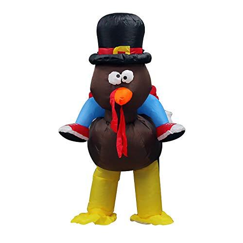 Kostüm Thanksgiving Für Erwachsene - Lustiges batteriebetriebenes aufblasbares Truthahn-Aufsitzkostüm-Outfit für Erwachsene Männer Frauen Thanksgiving-Karneval Halloween-Kostümparty