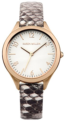 Karen Millen Women's Quartz Watch with Silver Dial Analogue Display and Grey Leather Strap KM150TRG