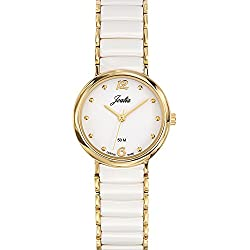 Joalia Women's Analogue Watch with White Dial Analogue Display and Stainless steel plated Bicolour - 631140