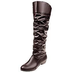 ZODOF Botas Planos Alto Top de Medieval Style para Mujer Botas de Mujer hasta la Rodilla Botas de Cuero Planas de Color sólido Botas de Fiesta