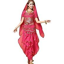 ZYLL Indio Bollywood Dama Danza del Vientre Ropa Mujer Conjunto Vestidos  Bellydance Vestido Traje Rojo Indio ac6d60f47d8d