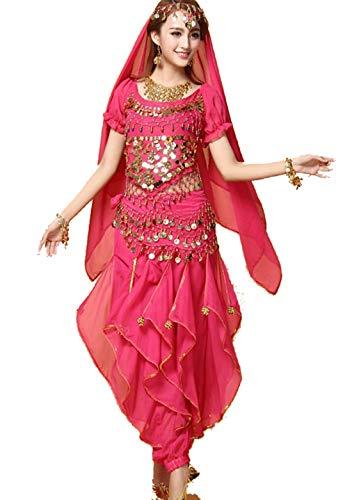 SMACO KleiderIndian Bollywood Dame Bauchtanz Kleidung Frau Set Kleider Bellydance Kleid Anzug Rot Indian Bollywood TäNzer Tanzen KostüM (Jasmin Kostüm Rot)
