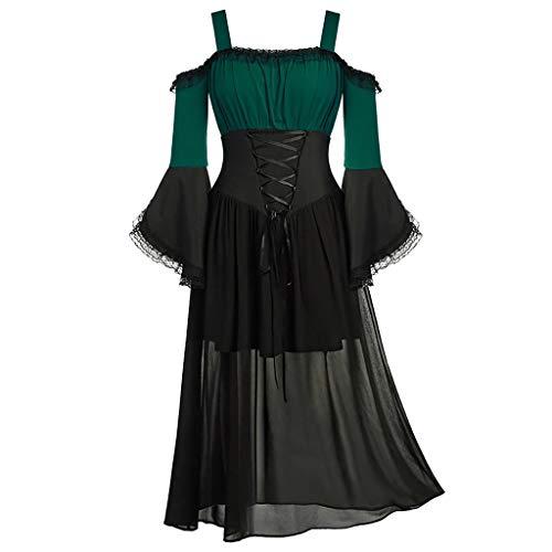 Xmiral Jacke Damen Spitze Spleiß Unregelmäßiger Saum Schnürung Bluse Retro Mantel Kleid 1950s Mittelalter Rollenspiel Tops Große Größe(G Grün,M)