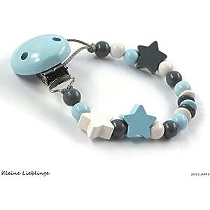 Schnullerkette ohne Namen mit 3 Sternen für Jungen Buchstaben Taufgeschenk Baby Geburt Geschenk hellblau ( blau ) grau weiß