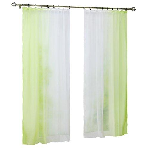 Joyswahl Gardine Voile Vorhang mit Farbverlauf Design »Agnes« Dekoschal Fenster Schal BxH 140x145cm Grün mit Kräuselband 2er Pack