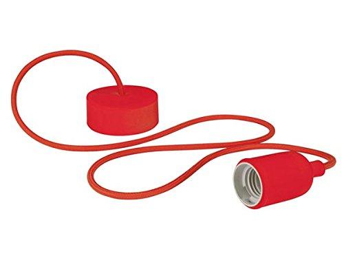 Vellight LAMPH01R Design Deckenleuchte mit Textilkabel, Rot