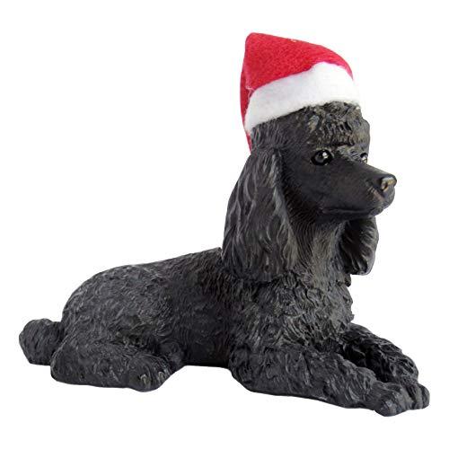 Sandicast Skulptur Pudel, Schwarz Pudel, Weihnachtsmannhut Ornament schwarz -