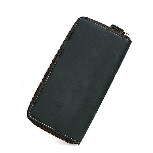 MäNner Echtes Leder Lange Zipper Brieftasche Vintage Geld Organizer Handtasche (Lv Handtaschen Für Den Mann)