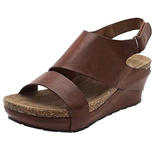 COZOCO Damen Bequeme Plateau Wedges Schuhe Open Toe verstellbare Knöchel römische Sandalen Klettverschluss Schuhe(braun,38 EU)