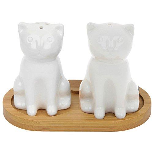 Black and White Cat Cruet Set with Bamboo Stand Cruet Stand