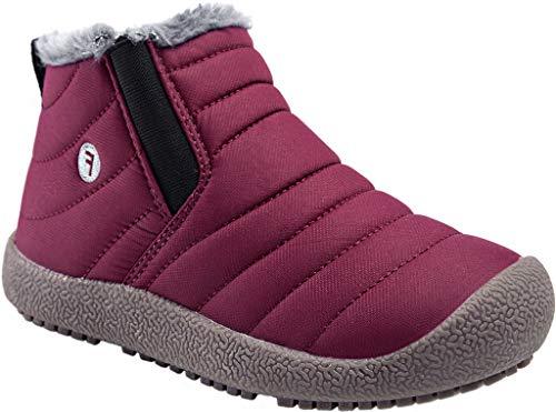 Kinder Winterschuhe Jungen Mädchen Schneestiefel Wasserdicht Warm gefütterte Schlupfstiefel Winter Stiefel Sneaker Schuhe Weinrot 30 EU = 31 CN