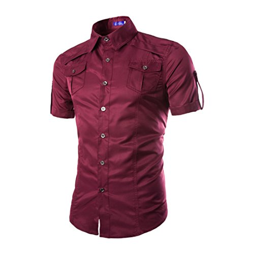 Men's Multi Pocket Short Sleeve Casual Shirts Wine Red
