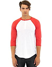 Unisex Triblend 3/4 Sleeve Henley Men's Women's T Shirt Short Sleeve Royal Apparel