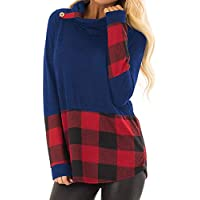 Hanomes Damen pullover, Damen Langarm Plaid Print Cowl-Neck T-Shirt Knopf Tunika Blusen Tops preisvergleich bei billige-tabletten.eu