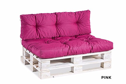 Palettenkissen Palettenauflagen Sitzkissen Rückenlehne gesteppt 120x40 120x80 (Sitzkissen 120x40 gesteppt, Pink)