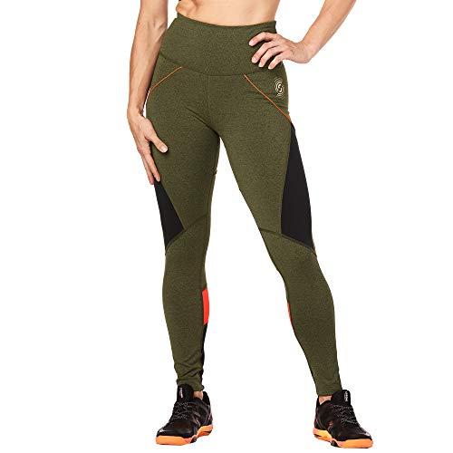 STRONG by Zumba 126 - Leggings da Donna a Vita Alta, Modellanti, con Compressione, Leggings, Z1B00683, Olive Green, M