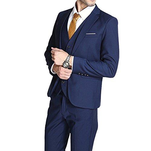 Anzug Herren Slim Fit 3 Teilig Geschäft Men's Suit Ein Knopf Smoking Vintage für Hochzeitskleid...