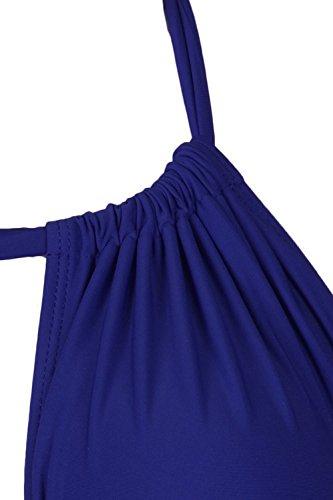 Fawnkiss Donna Sexy Push Up Costumi da bagno Deep V Halter Tummy Control Costumi Interi Buio Blu
