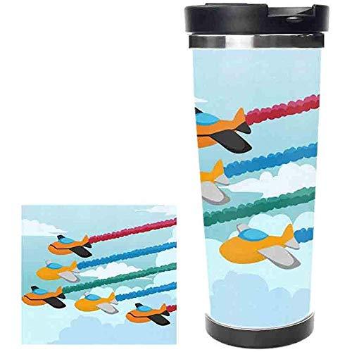 datgirl Karikatur-Flugzeug-Edelstahl-Wasser-Flaschen-Auslaufsicherer Vakuum Isolierter Flaschen-Topf-Sport-Doppelwandiger Wasser-Flaschen-Thermos-Becher