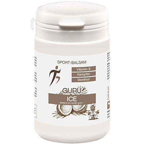 Guru ICE - Sport-Balsam - mit Kokosöl, Kampfer & Menthol 100 ml | Creme und Gel zur Massage nach dem Sport | Wärme- und Kältebehandlung der Muskeln | Guru Kokosöl ®