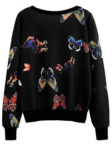 Tonsee Femmes Papillon Imprimé à manches Longues Pullovers Blouse Sweatshirt Noir