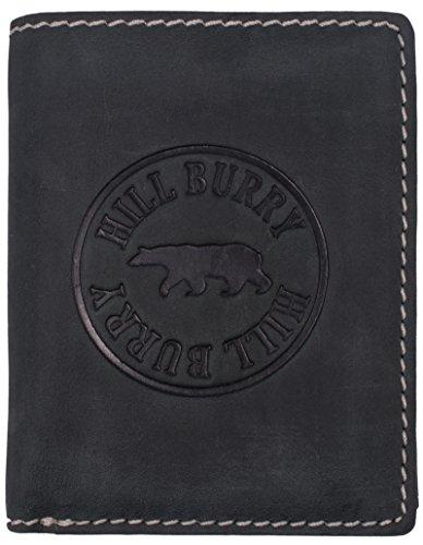 Echte Leder-geldbörse Leder (Hill Burry Herren Geldbörse RFID | Echt Leder Portemonnaie - aus weichem hochwertigem BüffelLeder | Brieftasche Portmonee Geldbeutel - Hochformat (Black))
