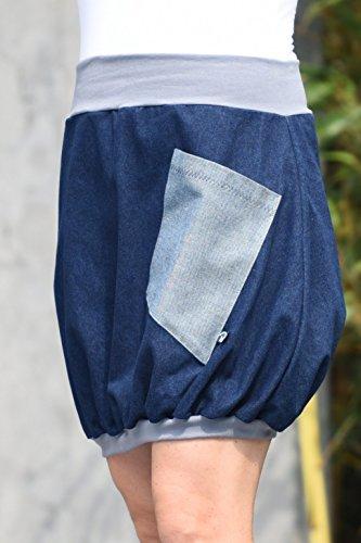 Minirock PAULIZ – blauer Damen Ballon-Minirock aus Jeans - 4