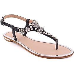 Unze Neue Frauen 'Coop' Diamante verschönert Sommer-Strand-Partei zusammen Carnival Casual Flache Sandalen Schuhe UK Größe 3-8 - 8Y3923-813