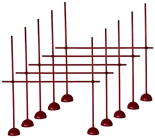 5er Sprungstangen-Set XS160rc (15 Stangen, 10 X-Standfüße, 10 Clips) - Farbe: rot