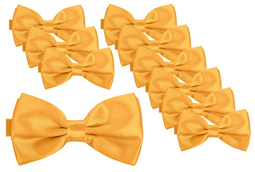 BomGuard Fliege für Herren gelb I Männer Fliege für Hochzeit, Party oder edele Anlässe I Trendy Bow Tie I 10er Set
